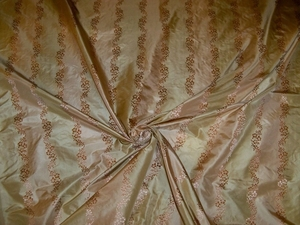 BEACON HILL ROBERT ALLEN PREMIERE SILK LISERE STRIPES FABRIC 10.5 YARDS BLUSH PINK BEIGE