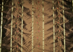 BEACON HILL ROBERT ALLEN SPRING BLOSSOM EMBROIDERED SILK DAMASK FABRIC 9 YARDS BROWN