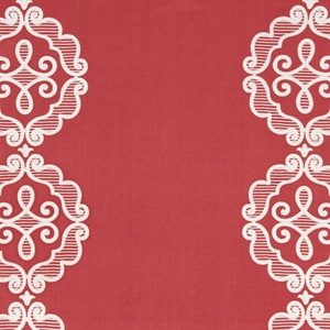BEACON HILL RUE ROYALE LINEN EMBROIDERY APPLIQUE FABRIC CORAL
