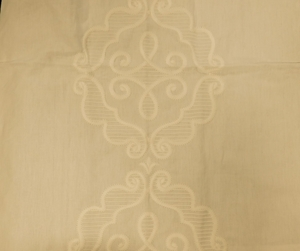 BEACON HILL RUE ROYALE LINEN EMBROIDERY APPLIQUE FABRIC WHITE