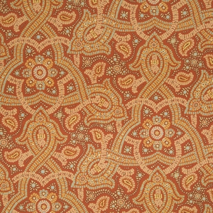 BEACON HILL SAMBA PAISLEY SILK JACQUARD EMBROIDERED FABRIC TOMATO