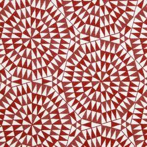 BEACON HILL SHAMIANA GEOMETRIC LINEN FABRIC VERMILLION