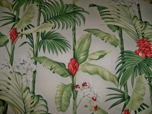 BEACON HILL TROPICAL ORCHID GARDEN LINEN FABRIC 11 YARDS CREAM MULTI