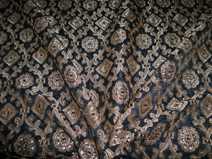 BRUNSCHWIG & FIL MOROCCAN SILK EMBROIDERED WOVEN DAMASK FABRIC 9 YARDS  BLACK GOLD COPPER TOPAZ