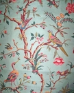 BRUNSCHWIG & FILS BIRDS OF A FEATHER TOILE LINEN FABRIC 12 YARDS