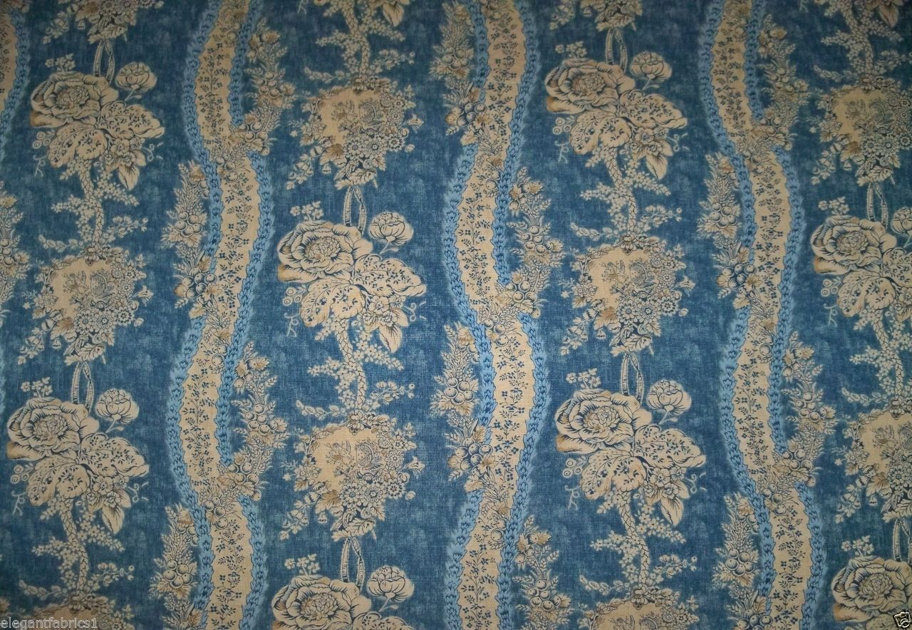 French Country Fabrics Part - 36: BRUNSCHWIG U0026 FILS FRENCH COUNTRY FLORAL TOILE LINEN FABRIC 15 YARDS BLUE  CREAM