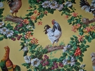 BRUNSCHWIG & FILS FRENCH COUNTRY ROOSTER CHICKEN HENS MEDALLIONS COTTON FABRIC 10 YARDS  SAMPLE