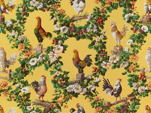 BRUNSCHWIG & FILS FRENCH COUNTRY ROOSTER CHICKEN HENS MEDALLIONS COTTON FABRIC 10 YARDS