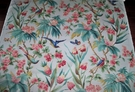 BRUNSCHWIG & FILS LES ROSEAUX TROPICAUX BIRDS POLISHED COTTON FABRIC 10 YARDS WHITE BLUE ROSE MULTI