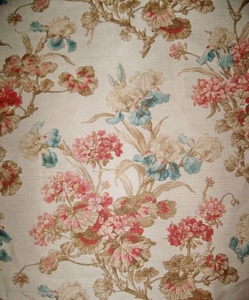 BRUNSCHWIG & FILS SHABBY GERANIUMS & IRIS TOILE LINEN FABRIC 13 YARDS CREAM ROSE