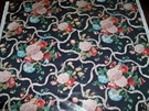 BRUNSCHWIG & FILS FARNFIELD SHABBY ROSE HYDRANGEAS RIBBON CHINTZ TOILE FABRIC 30 YARD BOLT BLACK MULTI