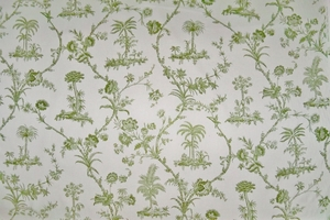BRUNSCHWIG & FILS WEST INDIES TOILE COTTON PRINT FABRIC TARRAGON 10 YARDS