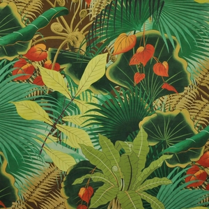 CLARENCE HOUSE BAHIA TROPICAL FABRIC BROWN MULTI