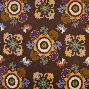 CLARENCE HOUSE BUKHARA CREWEL EMBROIDERED FABRIC BROWN