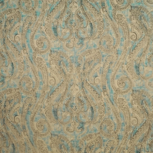 CLARENCE HOUSE CARMEN PAISLEY LINEN FABRIC BLUE