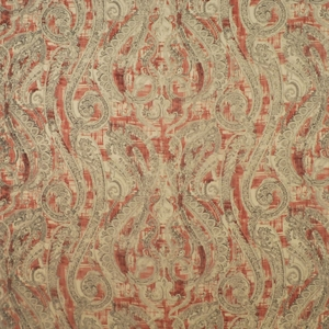 CLARENCE HOUSE CARMEN PAISLEY LINEN FABRIC RED