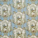 CLARENCE HOUSE CHINOISERIE ASIAN FISHERMAN BIRDS TOILE FABRIC BLUE