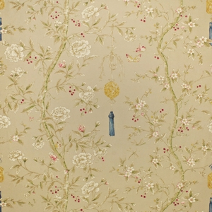 CLARENCE HOUSE CHINOISERIE BLOSSOMS BUTTERFLIES & BERRIES FABRIC TAN