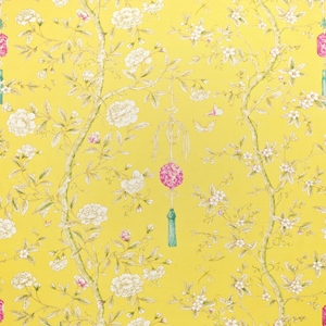 CLARENCE HOUSE CHINOISERIE BLOSSOMS BUTTERFLIES & BERRIES FABRIC YELLOW