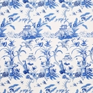 CLARENCE HOUSE CHINOISERIE PANGONG ASIAN TOILE COTTON FABRIC BLUE