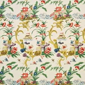 CLARENCE HOUSE CHINOISERIE PANGONG ASIAN TOILE COTTON FABRIC MULTI