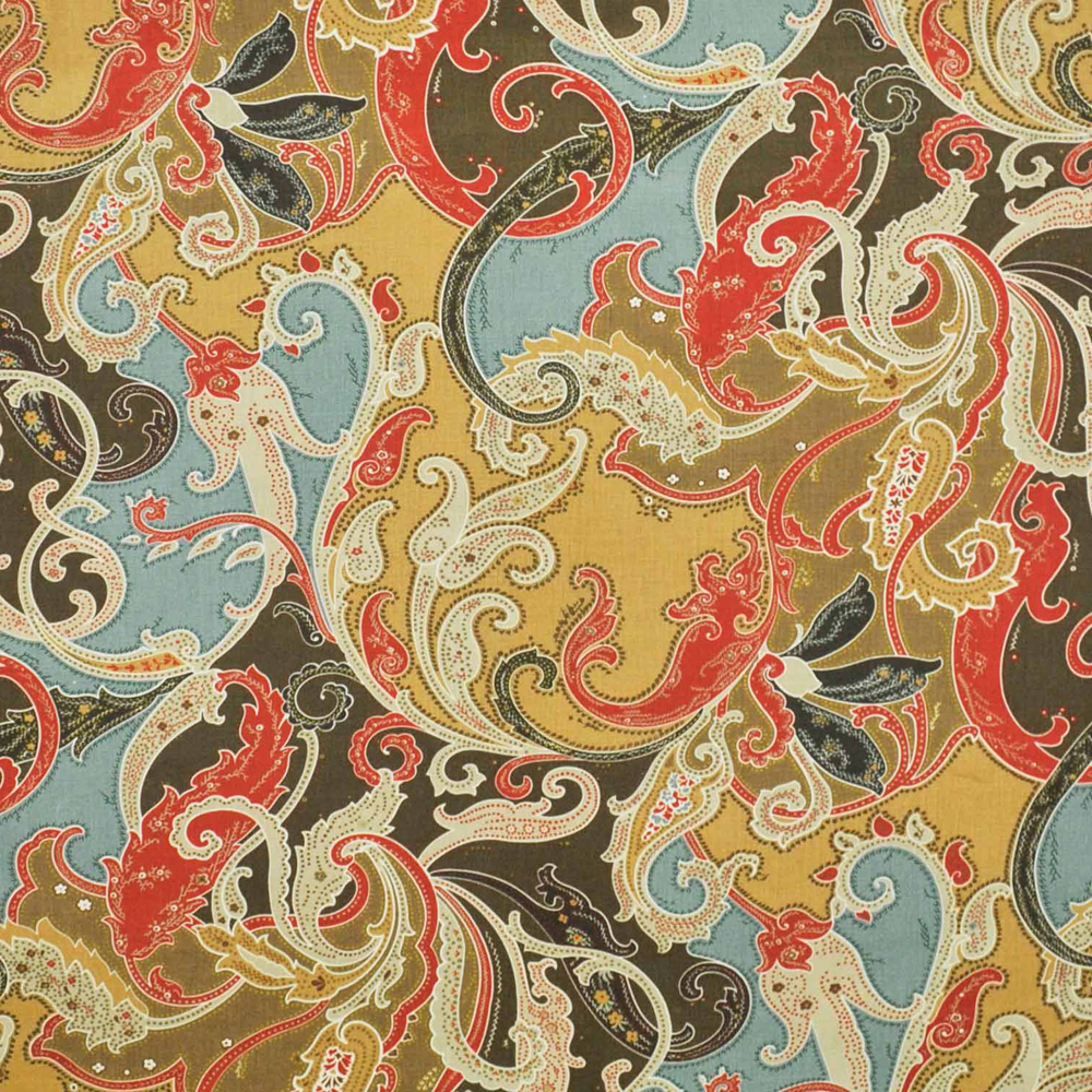Clarence house esmeralda paisley linen fabric antque for Paisley house