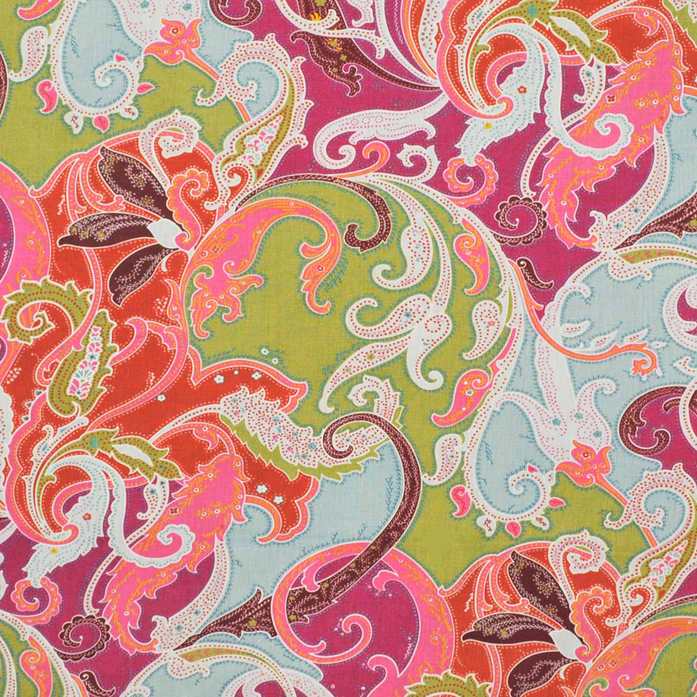 Clarence house esmeralda paisley linen fabric magenta for Paisley house