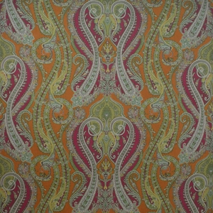 CLARENCE HOUSE FANTINE PAISLEY LINEN FABRIC CURRY 1
