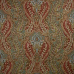 CLARENCE HOUSE FANTINE PAISLEY LINEN FABRIC GREEN 2