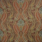 CLARENCE HOUSE FANTINE PAISLEY LINEN FABRIC RED CLAY 3