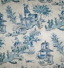 CLARENCE HOUSE FRENCH CHINOISERIE PAGODAS TOILE LINEN FABRIC BLUE