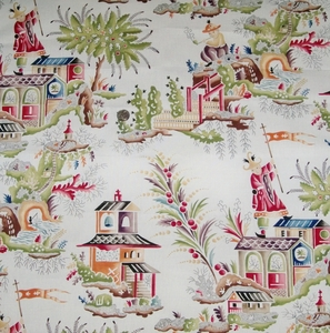 CLARENCE HOUSE FRENCH CHINOISERIE PAGODAS TOILE LINEN FABRIC MULTI