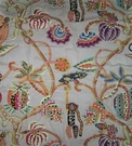 CLARENCE HOUSE CREWEL JEMBALA CREWEL MONKEYS LIONS FABRIC MULTI
