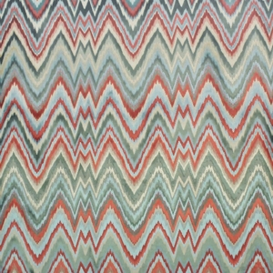 CLARENCE HOUSE LEOPOLD FLAME STITCH FABRIC AQUA