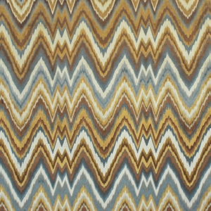 CLARENCE HOUSE LEOPOLD FLAME STITCH FABRIC BLUE