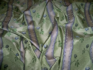 CLARENCE HOUSE MAITLAND SHABBY ROSES (ROSEBUDS) FRENCH LISERE SILK DAMASK FABRIC 10 YARDS CELADON BLUE OPAL