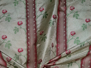 CLARENCE HOUSE MAITLAND SHABBY ROSES (ROSEBUDS) FRENCH LISERE SILK DAMASK FABRIC 3 YARDS CREAM