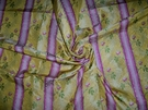 CLARENCE HOUSE MAITLAND SHABBY ROSES (ROSEBUDS) FRENCH LISERE SILK DAMASK FABRIC 5 YARDS GOLDENROD YELLOW ROSE OPAL GREEN