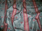 CLARENCE HOUSE MAITLAND SHABBY ROSES (ROSEBUDS) FRENCH LISERE SILK DAMASK FABRIC 5 YARDS FRENCH BLUE ROSE OPAL