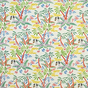 CLARENCE HOUSE PALM BEACH LINEN FABRIC MULTI