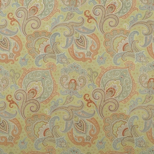 CLARENCE HOUSE PARKER PAISLEY COTTON VELVET FABRIC GREEN 2