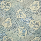 CLARENCE HOUSE SHERE KHAN LINEN FABRIC BLUES 3