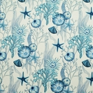 CLARENCE HOUSE TROPICAL AQUAMARINA LINEN FABRIC  MULTI BLUES