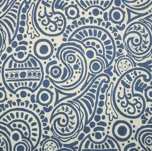 CLARENCE HOUSE UDAI CREWEL EMBROIDERED FABRIC BLUE