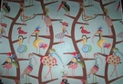 CLARENCE HOUSE WHIMSICAL POLLY BIRDS TOILE LINEN FABRIC BLUE MULTI