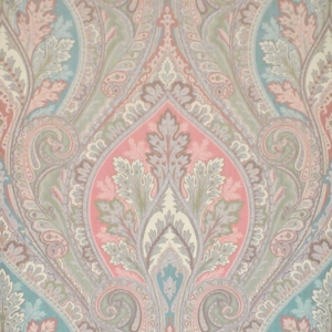 CLARENCE HOUSE BELLINI PAISLEY SILK DAMASK FABRIC TEAL
