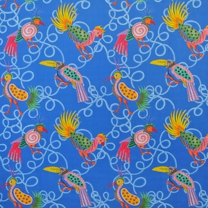 CLARENCE HOUSE FRUIT LOOPS LINEN FABRIC BLUE