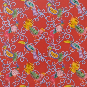 CLARENCE HOUSE FRUIT LOOPS LINEN FABRIC RED