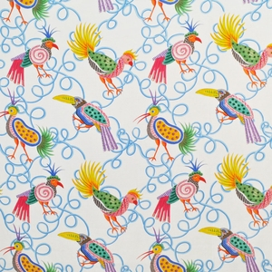 CLARENCE HOUSE FRUIT LOOPS LINEN FABRIC WHITE