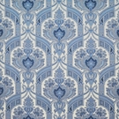 CLARENCE HOUSE HYDERABAD PAISLEY LINEN FABRIC BLUES